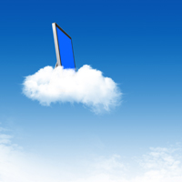 Image of a computer on a cloud